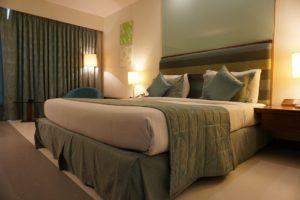 hotel, room, curtain